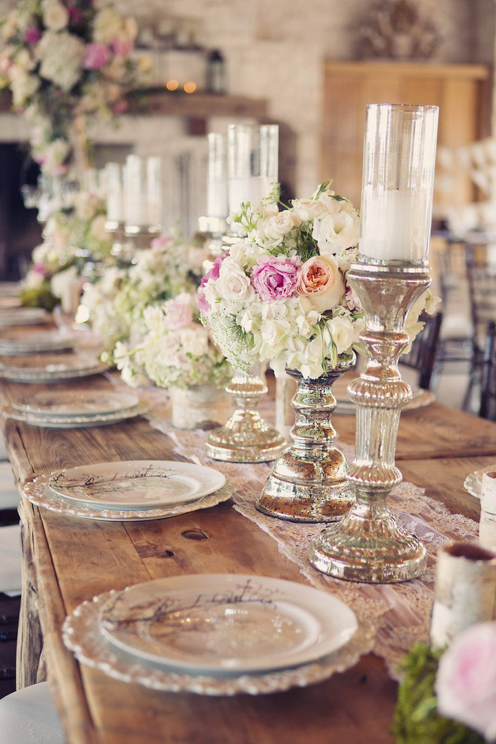 Rustic chic wedding reception decoration ideas | itakeyou.co.uk #wedding #rusticwedding #romantic