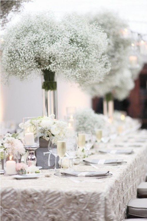 White winter wedding centerpieces baby breath junglespirit Choice Image