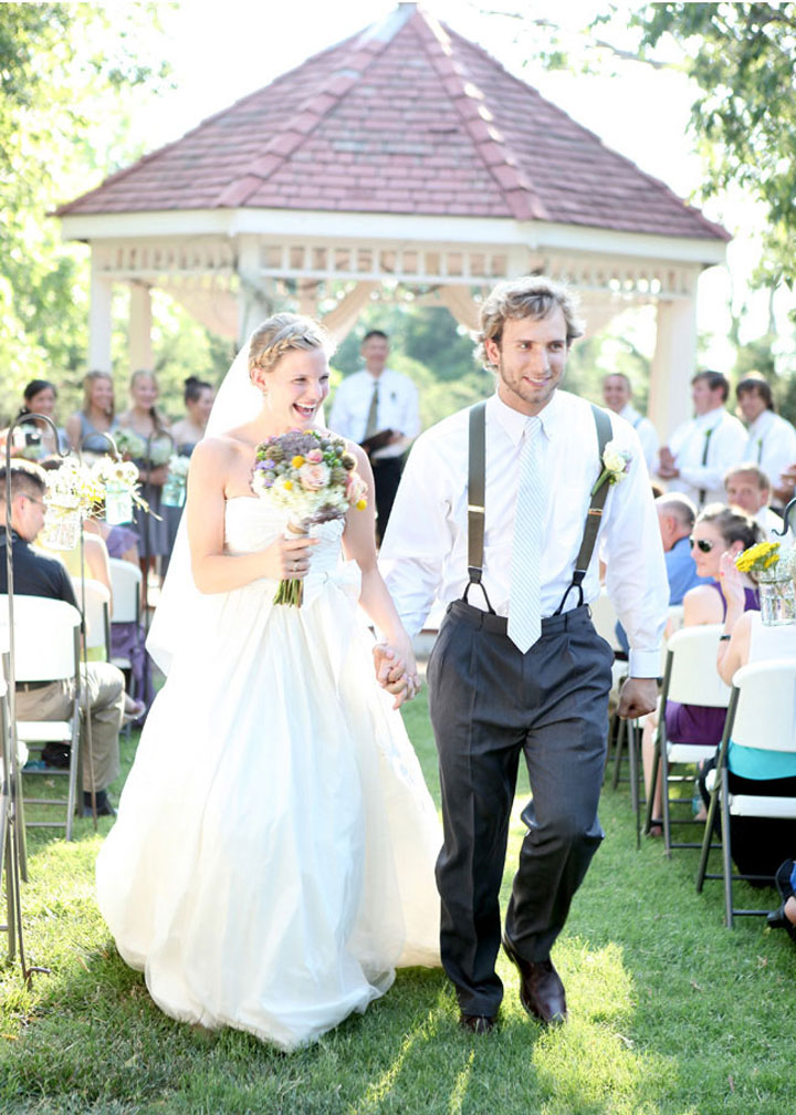 bride and groom rustic outdoor wedding