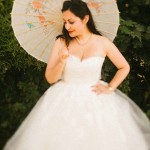 bride and wedding umbella