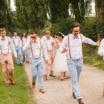 blue peach coloured grooms men ,retro wedding party