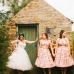 bride and retro bridesmaids,vintage bride and bridesmaids
