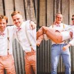 blue peach coloured grooms men