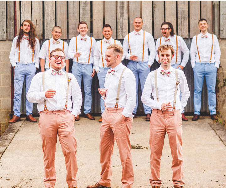 blue and peach coloured groomsmen bowtie suspenders | A 1950 Tea Length Dress for a charming vintage tea party garden wedding picnic style | itakeyou.co.uk - uk wedding blog