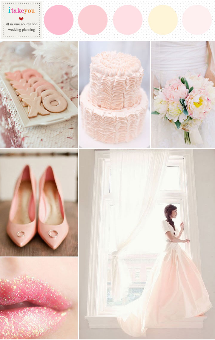 romantic pink wedding color palette,romantic blush pink wedding theme ideas