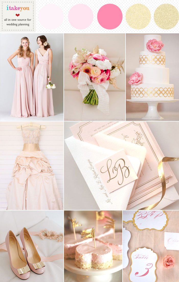 Read more pretty and elegant wedding palette,blush pink gold wedding colors palette,blush pink gold wedding theme,gold wedding,pink wedding - http://www.itakeyou.co.uk/wedding/blush-pink-gold-wedding/