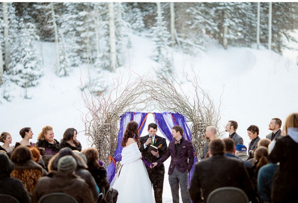 Winter wedding in snow From Amy Lashelle http://www.itakeyou.co.uk/wedding/purple-winter-wedding-photography/ Winter wedding ideas,purple winter wedding themes,wedding in snow,bride and groom in snow,wedding ceremony in snow