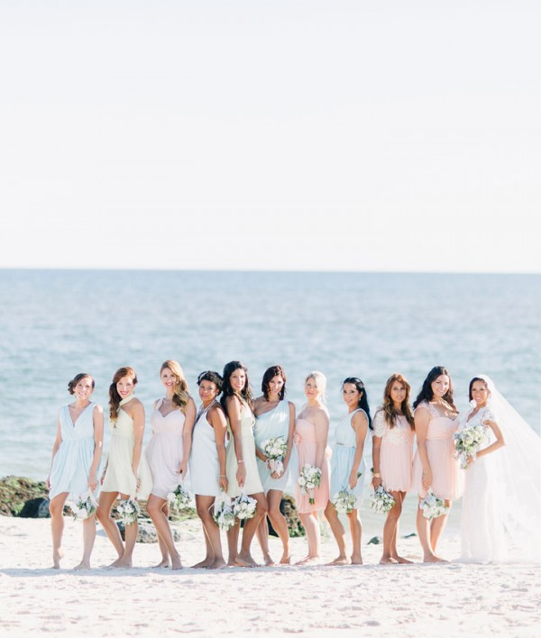 Gorgeous pastel bridesmaid dresses Beach Wedding From Joseph Lin Photography see more https://www.itakeyou.co.uk/wedding/beach-wedding-from-joseph-lin-photography/ pastel bridesmaids,pastel bridesmaid beach wedding,seaside pastel bridesmaids