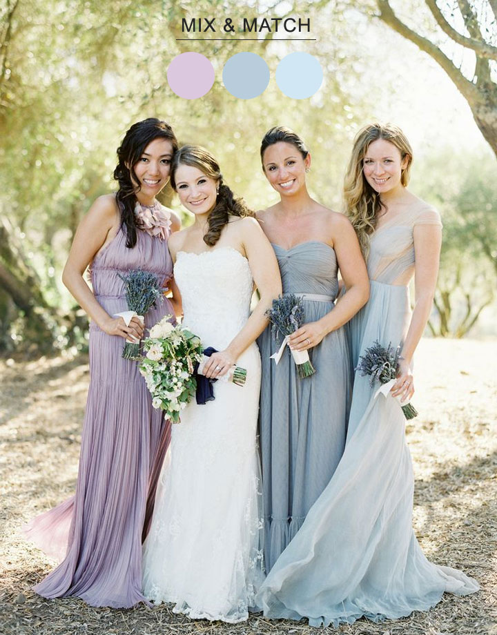 Mix Match Bridesmaids See more http://www.itakeyou.co.uk/wedding/mix-match-bridesmaids/ mix n match bridesmaid dresses,mix match bridesmaids dresses,mix match bridesmaids,mix match style bridesmaid dresses,dusty blue lavender bridesmaid