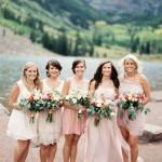 Mix matched pink bridesmaids dresses
