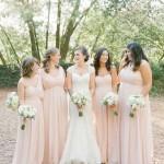 Pink long bridesmaids dresses