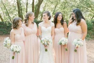 Pink long bridesmaids dresses