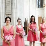 Pink short bridesmaids dresses