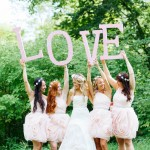 Short pink bridesmaids dresses
