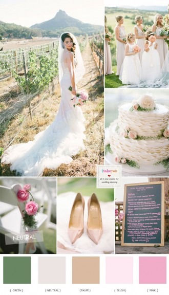 Blush pink wedding colour palette for vineyard wedding