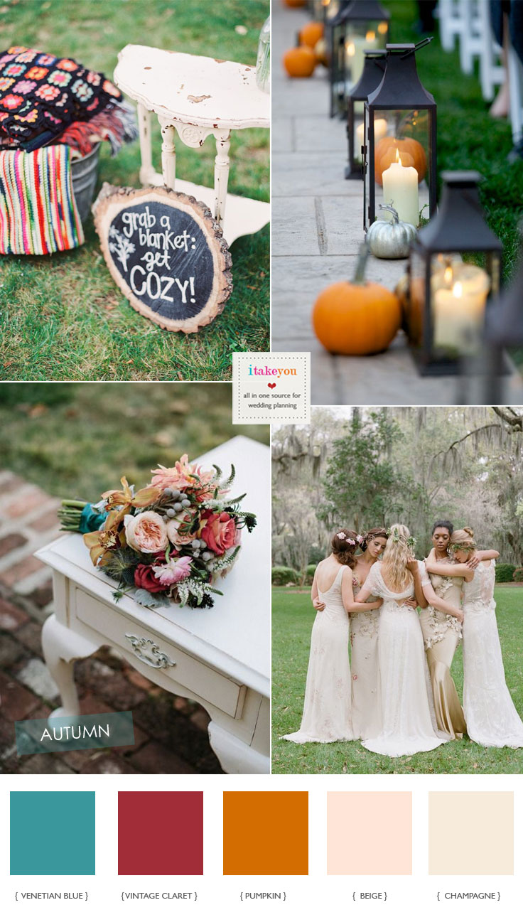 Neutral And Red Autumn Wedding Colour Palette