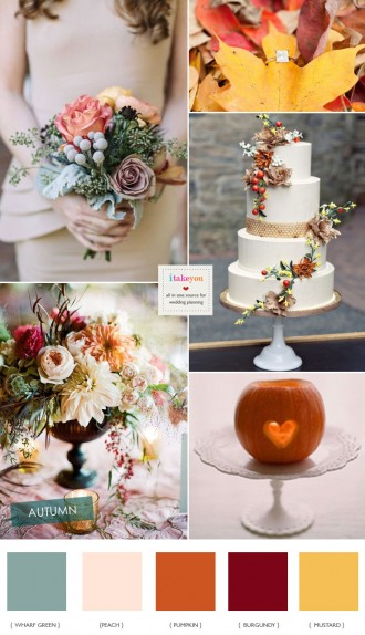 Pumpkin Peach and burgundy wedding - Autumn Wedding