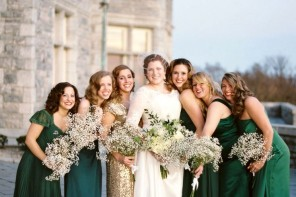 Mismatch Look for Bridesmaids,mix match bridesmaid dresses,mixed and matched bridesmaids,mix n match bridesmaid looks,mismatched bridesmaids dresses,Emerald and gold bridesmaids | Photography: Megan W Photography - megan-w.com