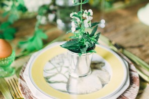 Spring wedding favor - potted plants can be a wedding favor, placecard holder and reception decoration all in one!