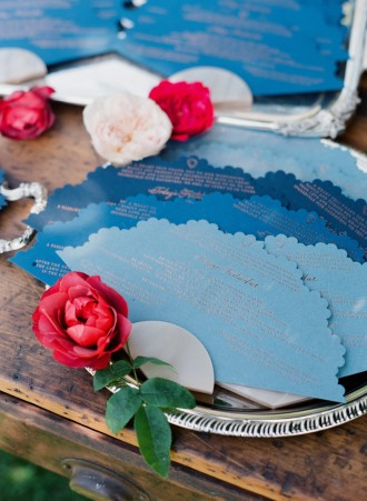 Colourful Fan wedding program | Photography : Corbin Gurkin