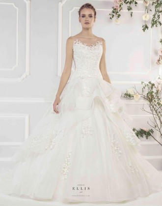 Style 19052 'Tiered Horsehair Edged Tulle Ballgown Dress with Appliqué Embroidered Lace and Sheer Back