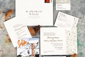 Winter postcard wedding invitation | itakeyou.co.uk