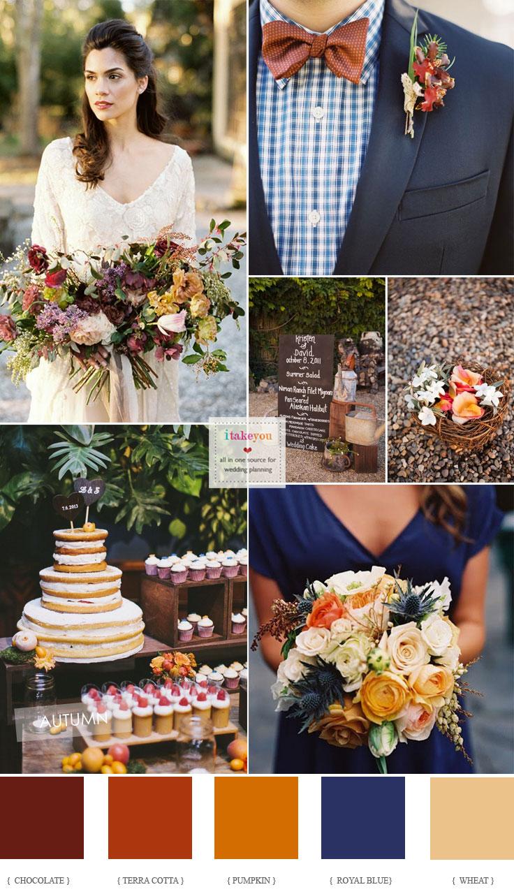 Pumpkin + Wheat And Royal Blue Autumn Wedding