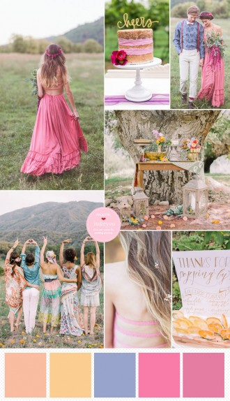 Pink bohemian wedding colours | Bohemian Wedding Theme | https://www.itakeyou.co.uk/wedding/bohemian-wedding-theme #weddingtheme #bohowedding #bohemian