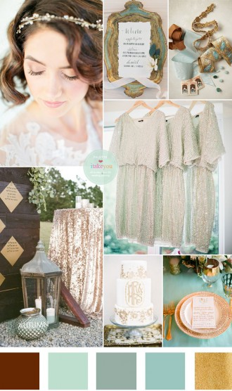 Vintage Garden wedding theme : sage, mint and gold wedding colour | itakeyou.co.uk