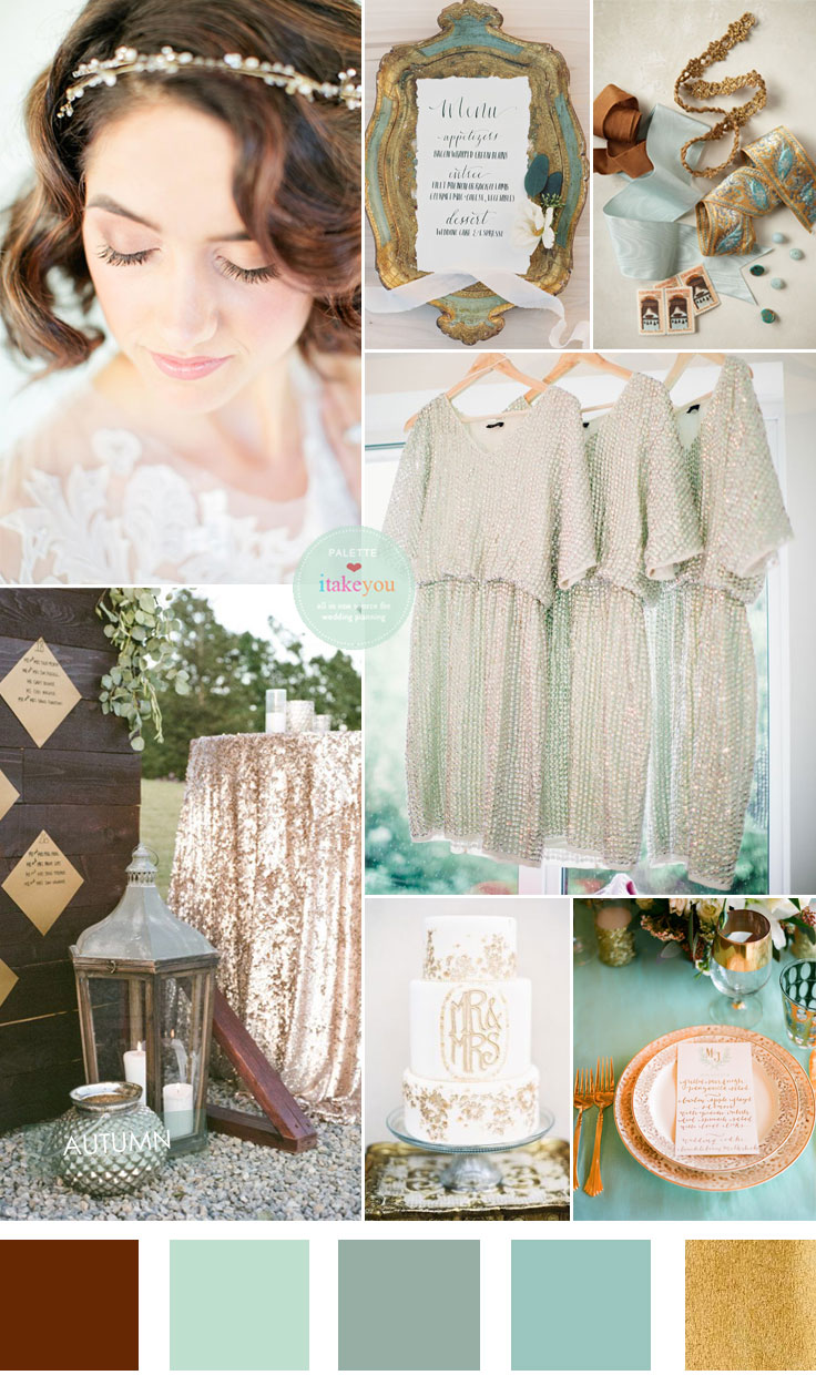 Vintage Garden wedding theme : Mint ,Olive Sage and Gold