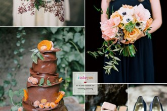 Blue anemone + Dark blue + Brown and orange wedding theme | itakeyou.co.uk