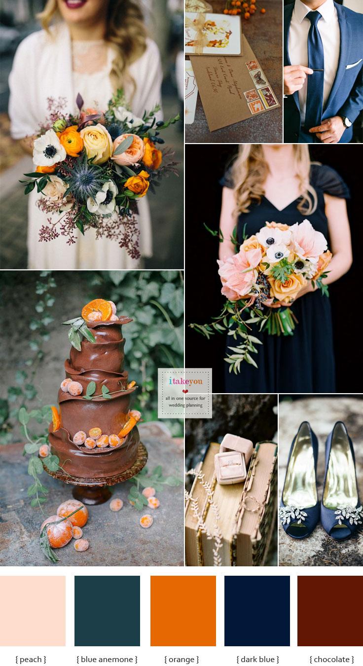 Dark Blue Brown And Orange Wedding Theme