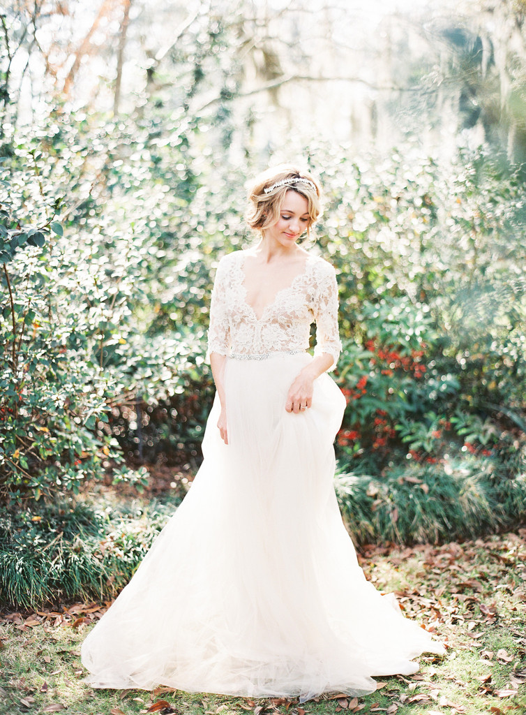 Claire by Emily Riggs BridalV-neck by Justin Alexander