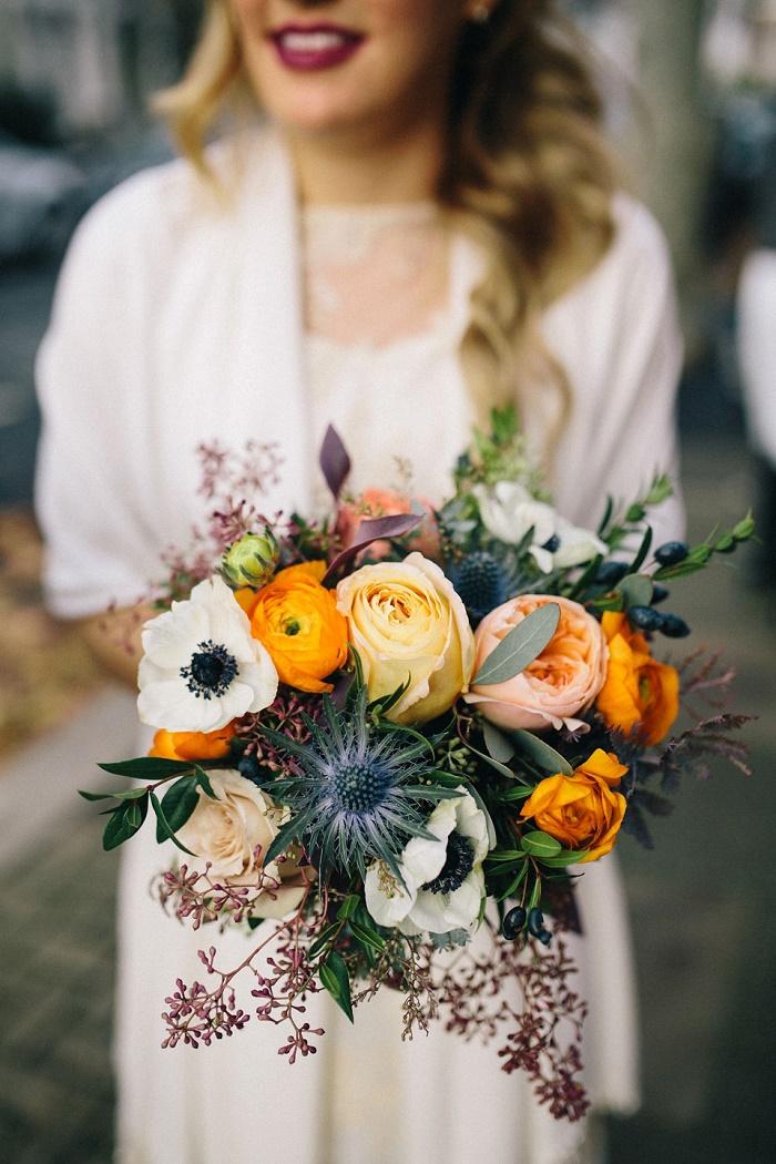 Sarah Seven Wedding Dress | Dark Blue + Brown and orange wedding theme