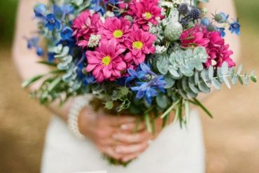 Cobalt blue + grey + greyed jade and pink summer wedding colours | itakeyou.co.uk