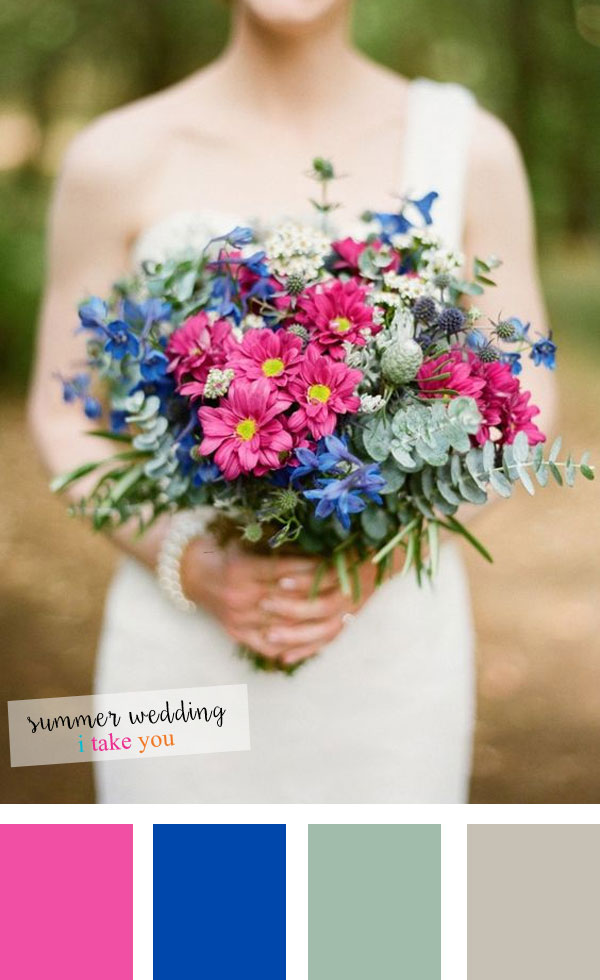 Cobalt blue + grey + grayed jade and pink summer wedding colours | itakeyou.co.uk