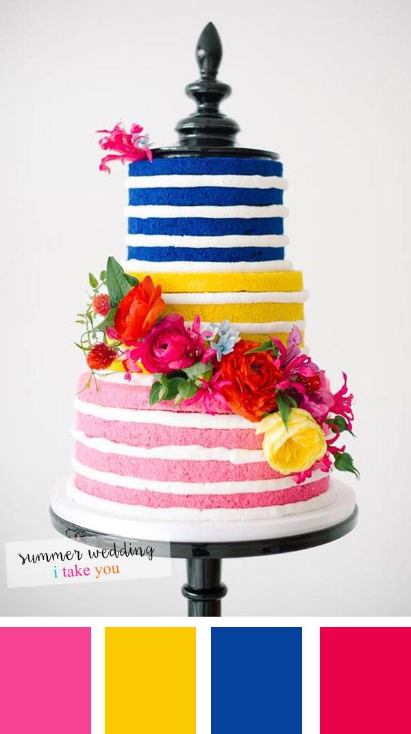 Violet blue + Pink and Yellow Summer wedding colour | itakeyou.co.uk #nakedweddingcake