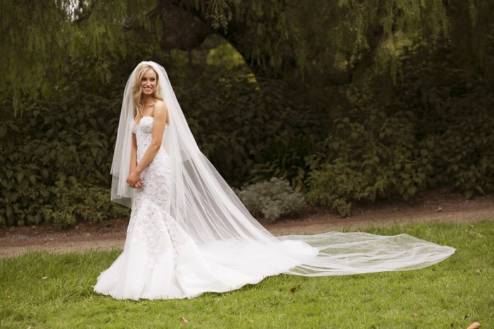 Bride in Steven Khalil wedding dress and