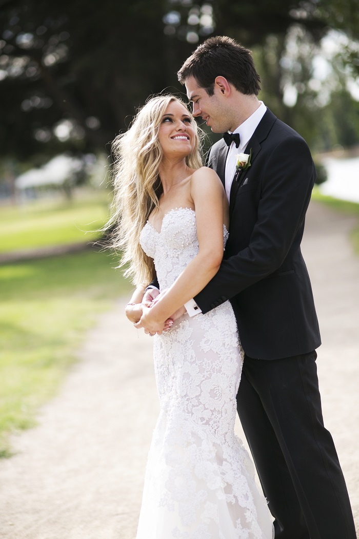 Bride in Steven Khalil wedding dress and groom in tuxedo| itakeyou.co.uk