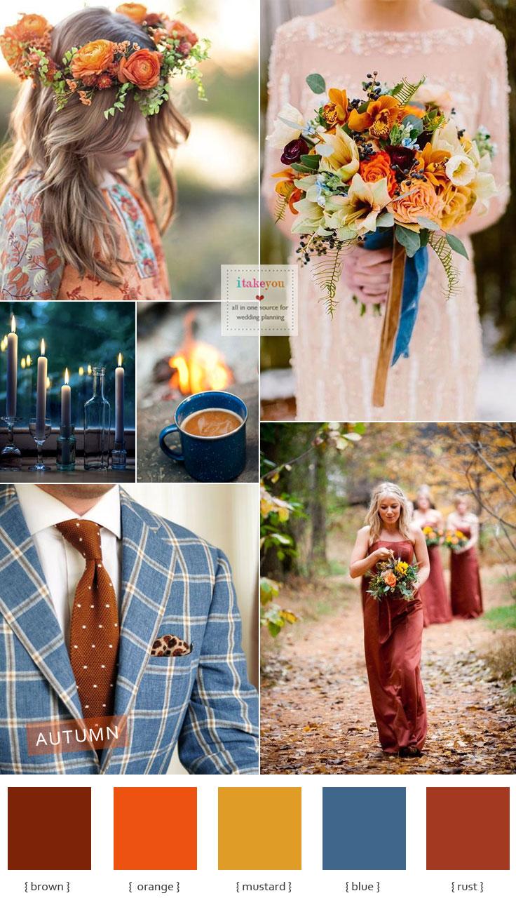 e3410aa7691 Autumn colours wedding theme { Blue + brown +mustard +orange & Rust }