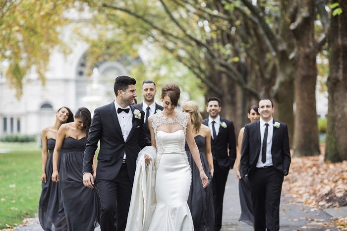 Navy blue bridesmaids |A Modern and Elegant Jason Grech Wedding Dress for A Big Fat Greek Winter Wedding | I take you