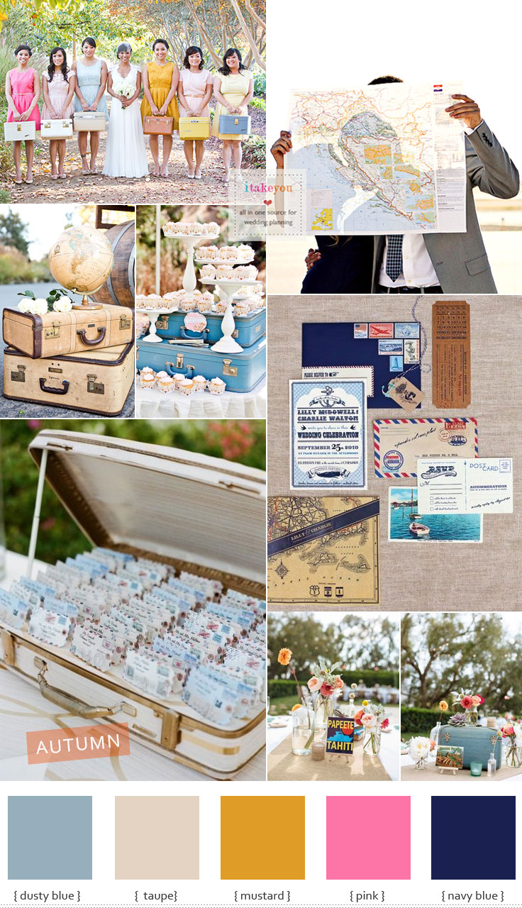 Vintage Travel Themed Wedding { Travel-Inspired Wedding Ideas } I take you #itakeyou