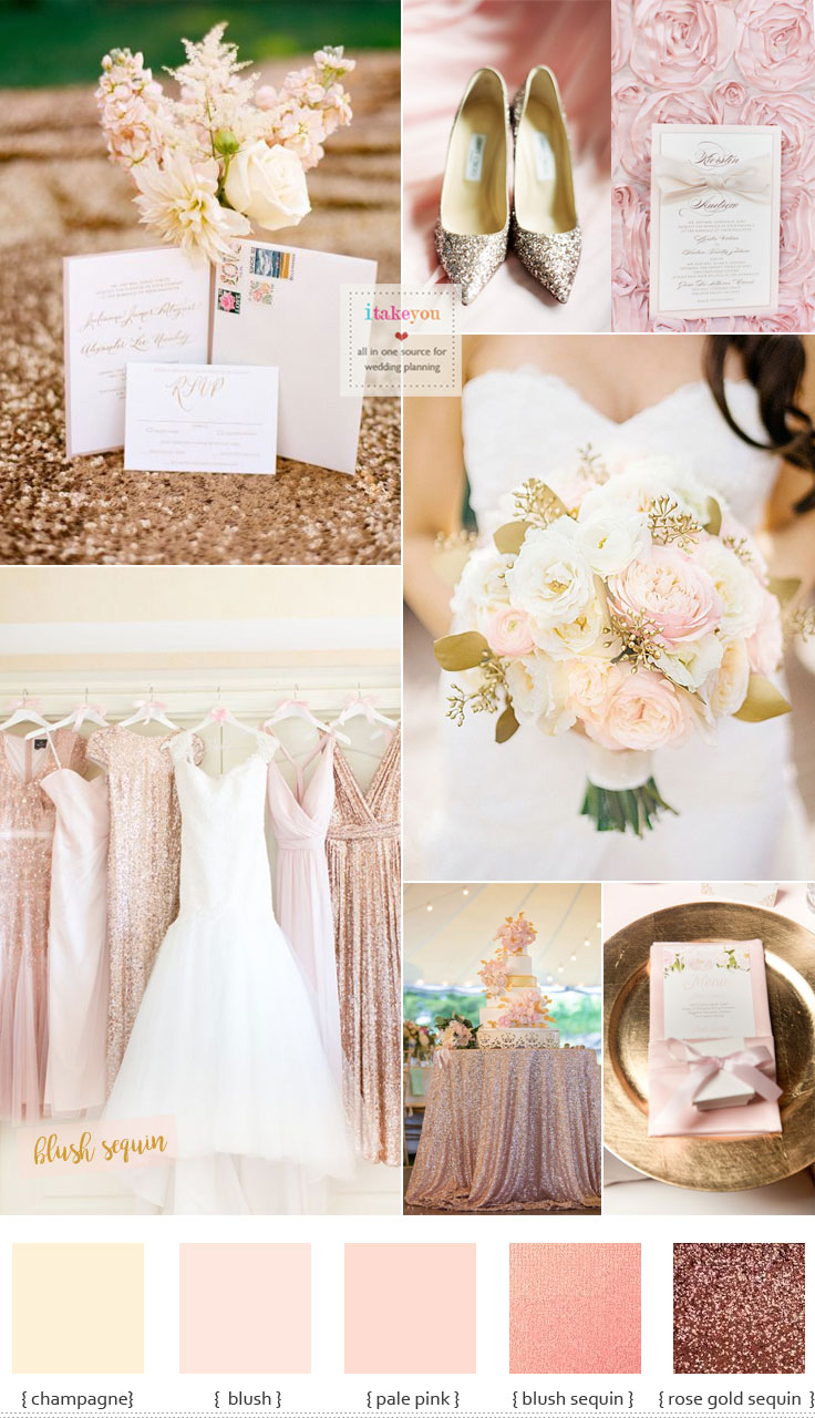 Blush sequin bridesmaid dresses for Blush and Gold Summer Wedding