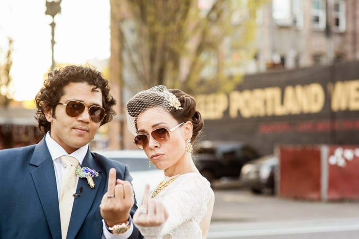A Civil Wedding Ceremony in Portland and Her Custom Made Gold Wedding Gown   itakeyou.co.uk