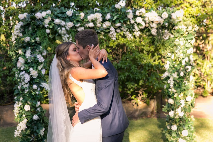 Beautiful garden styled wedding | itakeyou.co.uk #gardenwedding #sophiatolli #weddingdress #outdoorwedding #weddingceremony