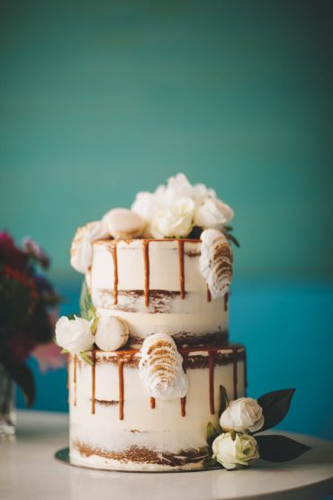 Semi naked wedding cake - Vibrant Rooftop Wedding | itakeyou.co.uk #wedding #vibrantwedding #rooftopwedding