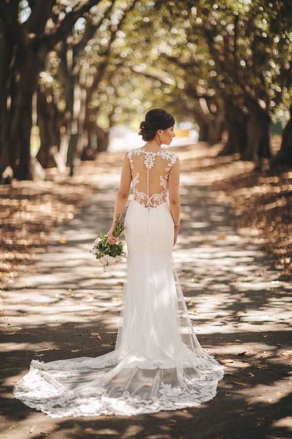 Beautiful back details wedding dress - Vibrant Rooftop Wedding | itakeyou.co.uk #wedding #vibrantwedding #rooftopwedding