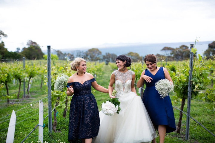 Dark blue bridesmaids for a Romantic Country Estate Wedding | itakeyou.co.uk #wedding #vineyardwedding #beachsidewedding #whiteandnavybluewedding #navybluewedding