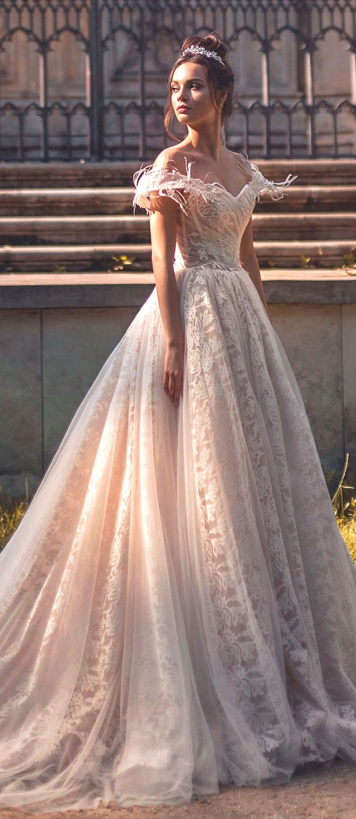 Off the shoulder Sweetheart neckline ball gown wedding dress chapel train Blammo biamo 2018 Wedding Dresses #weddingdress #weddingdresses #wedding #weddings #bridedress #bride
