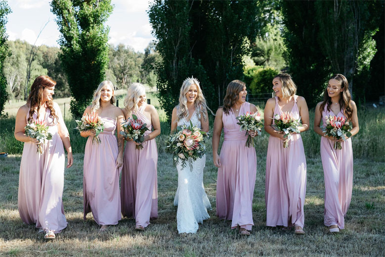 Relaxed Country Boho Wedding - Blush pink bridesmaid dresses #bohowedding #pinkbridesmaids